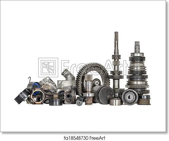 Free Art Print Of Set Of Various Car Parts Set Of Various Spare