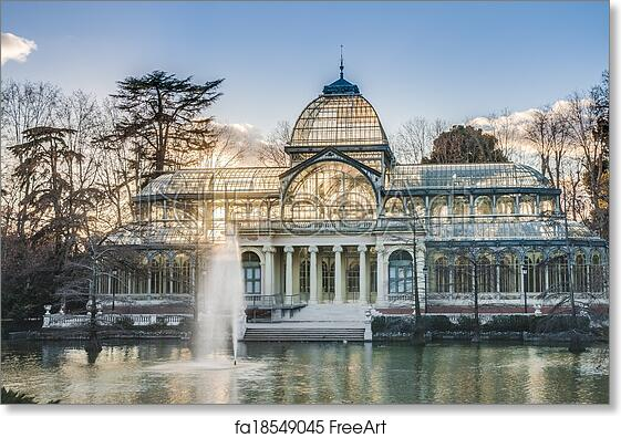 free art print of crystal palace on retiro park in madrid spain