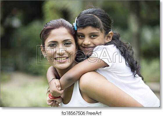 Free art print of Happy Indian mum and her child playing outdoors