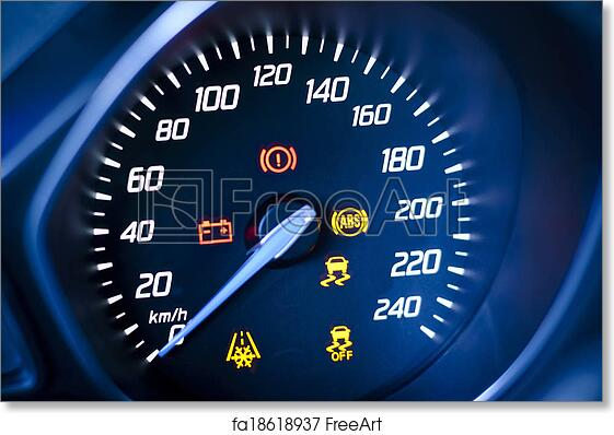 Free art print of Fragment of instrument panel of car speedometer,  tachometer with visible symbols of instrument cluster, with warning lamps