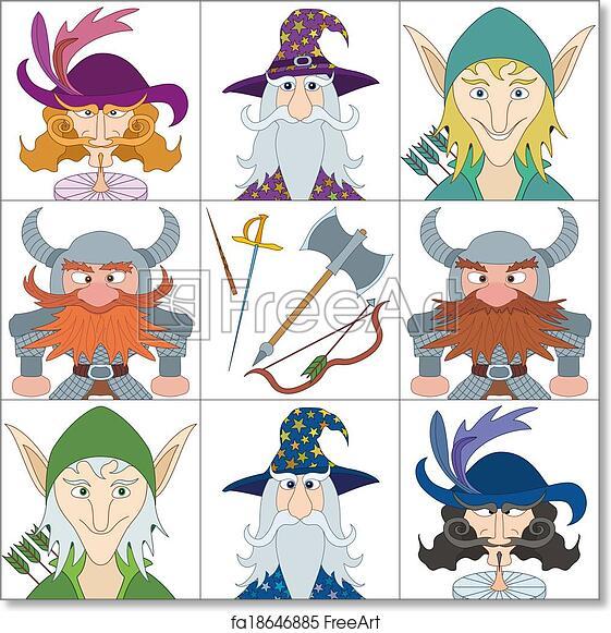 Free art print of Fantasy heroes, set avatars