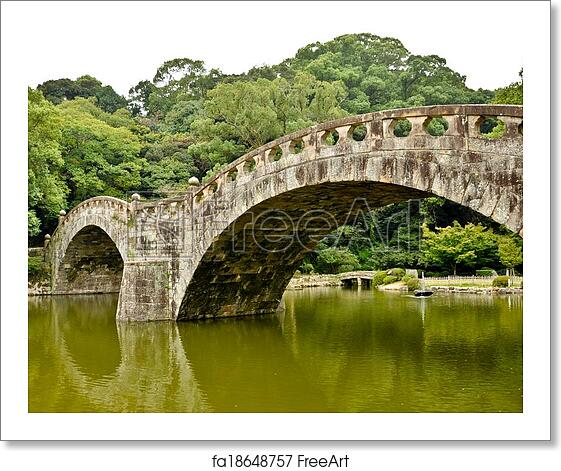 free art print of stone bridge in japanese garden at isahaya japan