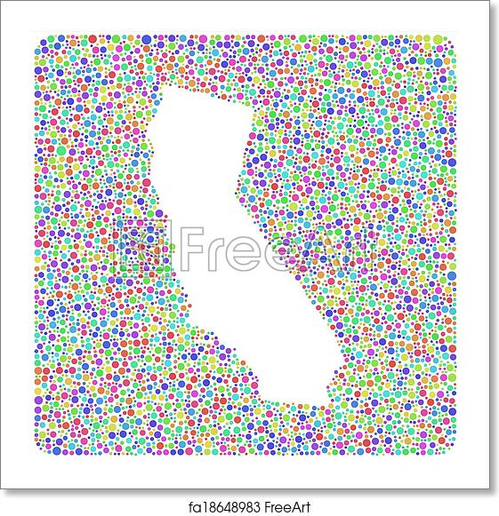 California Map Icon.Free Art Print Of California Outline In A Square Icon Map Of