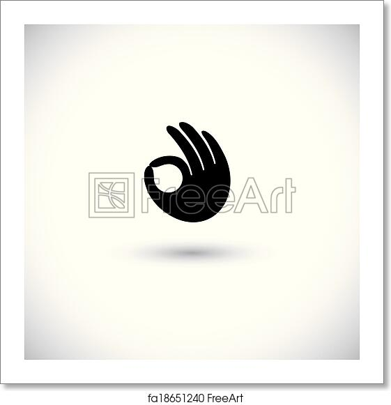 free art print of ok symbol or approval icon with human hand