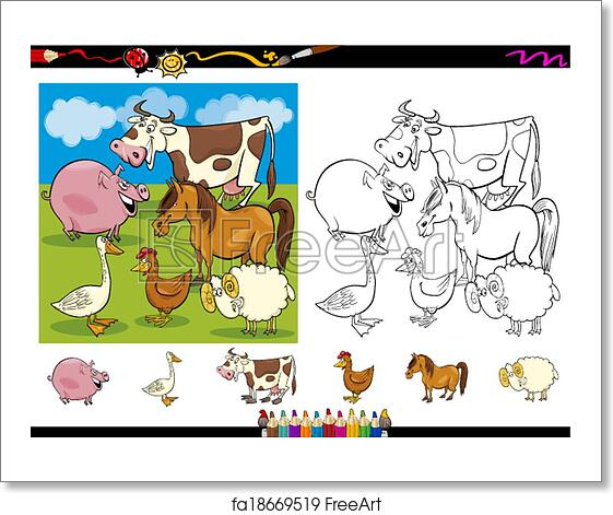 Free art print of Farm animals coloring page set. Cartoon ...