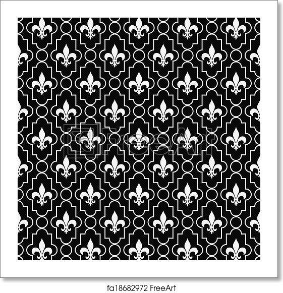 Free Art Print Of White And Black Fleur De Lis Pattern Textured Fabric Background