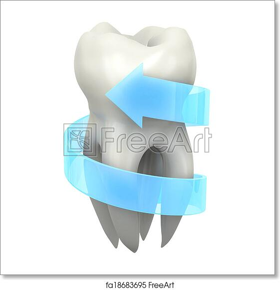 Free Art Print Of Protected Tooth Very High Resolution 3d Rendering Of A Tooth With A Blue Arrow Around It Freeart Fa18683695