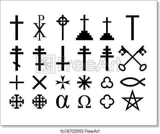 Free Art Print Of Christian Religious Symbols Set Of Christian