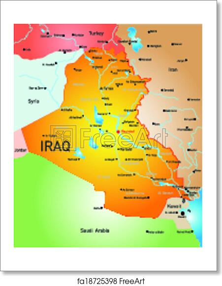 Free art print of iraq country vector detailed map of iraq country free art print of iraq country gumiabroncs Images
