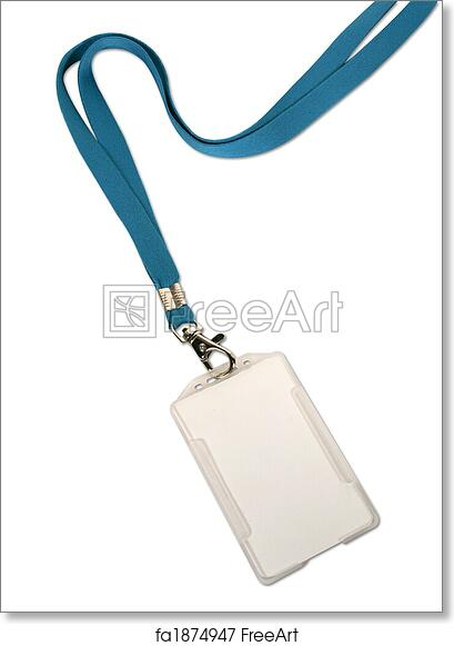 free art print of blank id card badge on white background