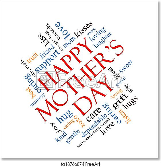 picture regarding Happy Mothers Day Printable known as Absolutely free artwork print of Pleased Moms Working day Phrase Cloud Thought Angled