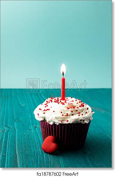 Free Art Print Of Sweet Little Birthday Cake With Candles