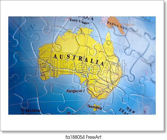Free 3d Map Of Australia.Free Art Print Of World 3d Puzzle Australia