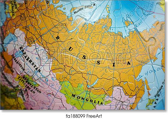 Map Of The World 3d.Free Art Print Of World 3d Puzzle Russia Close Up On Russia