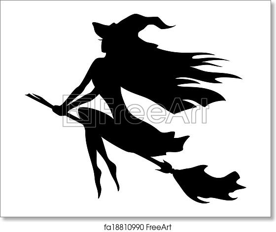 free art print of witch flying on a broomstick vector silhouette of