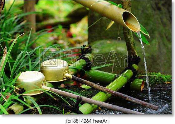 Free Art Print Of Bamboo Water Fountain With Ladle In Japanese Temple