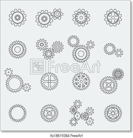 picture relating to Printable Gears referred to as Totally free artwork print of Cogs wheels and gears pictograms