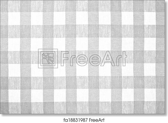 Free Art Print Of Gray Checked Fabric Tablecloth