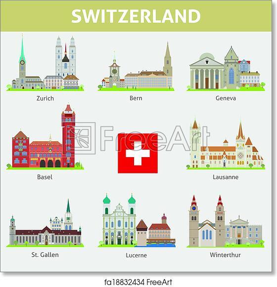 Free Art Print Of Switzerland Symbols Of Cities Vector Set