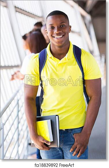 Free art print of African american college student on campus