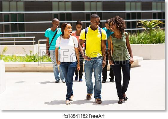 Free Art Print Of Group Of African American College Students Walking On Campus