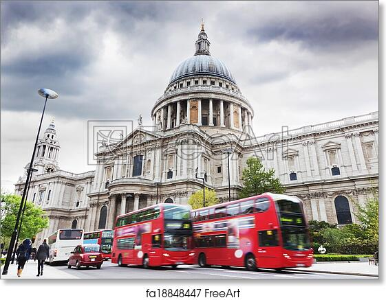 Photographic poster St Paul/'s Cathedral RED LONDON telephone box night  new