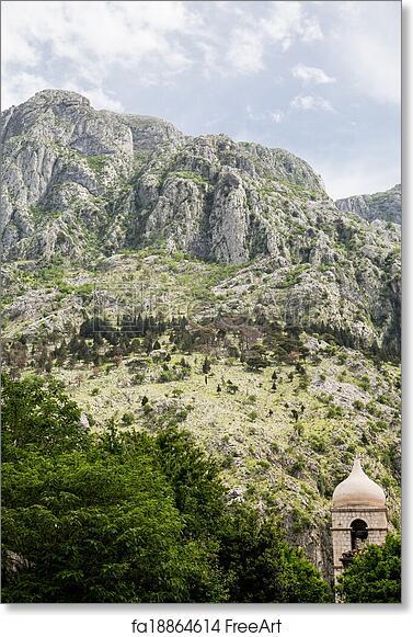 free art print of rocky peaks over kotor montenegro onion dome