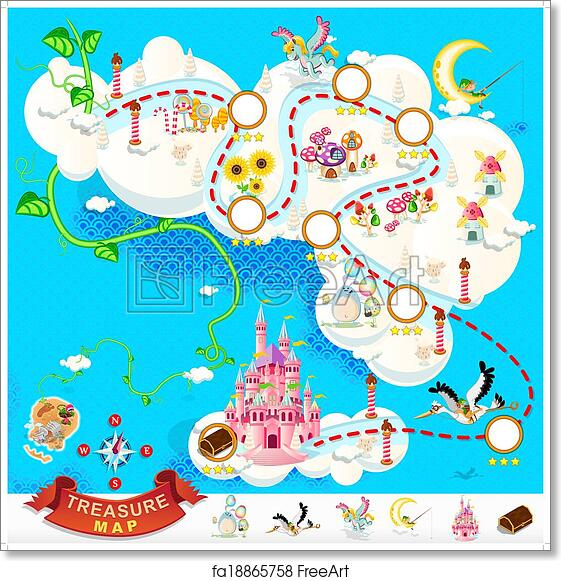 photograph relating to Free Printable Pirate Treasure Map called Cost-free artwork print of Pirate Treasure Map Sky Castle