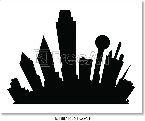 free art print of cartoon dallas cartoon skyline silhouette of the