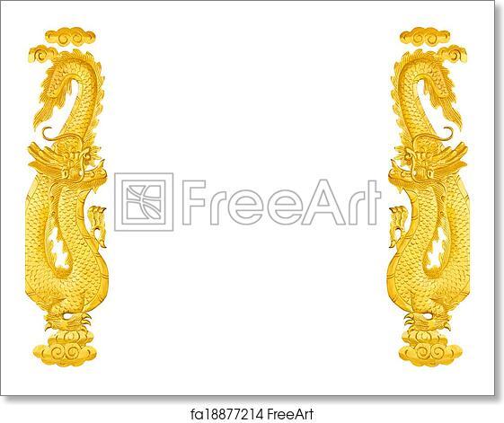 free art print of frame golden chinese dragon - Dragon Frame