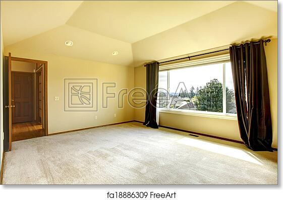 Free Art Print Of Empty Bedroom Brigth Empy Room With High Vaulted