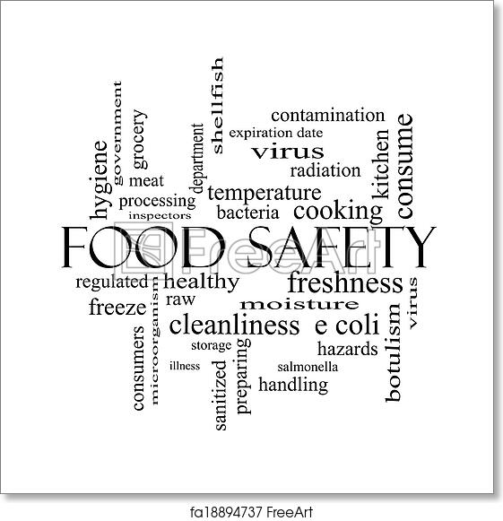 Free art print of Food Safety Word Cloud Concept in black and white