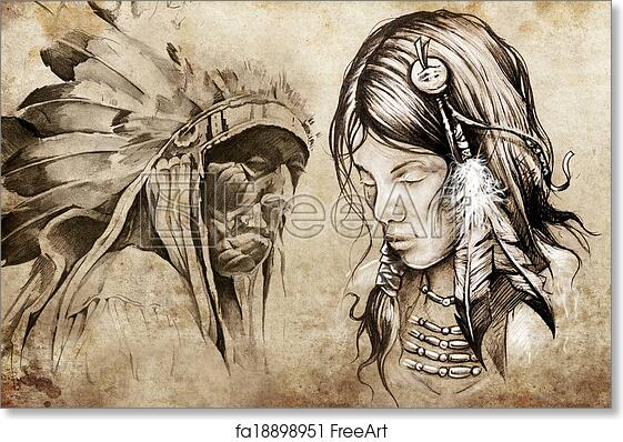 Free Art Print Of American Indian Woman Tattoo Sketch Handmade