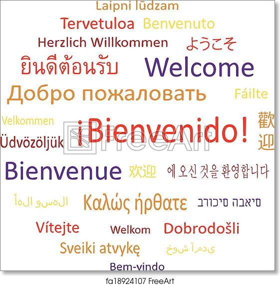 graphic about Merry Christmas in Different Languages Printable known as Free of charge artwork print of Welcome inside of choice languages.