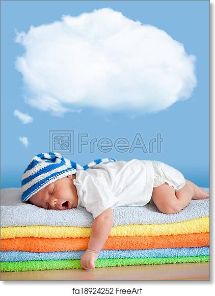 Free Art Print Of Yawning Sleeping Baby In Funny Hat With Dream Cloud For Image Or Text Freeart Fa18924252