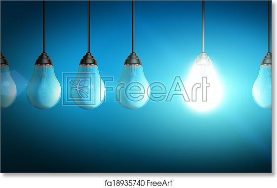 Ecoconcept free art print of lightbulb eco concept. colorful shiny lightbulb