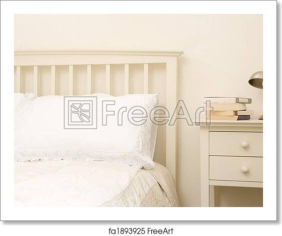 Free Art Print Of Empty Bedroom With Books On Nightstand Freeart