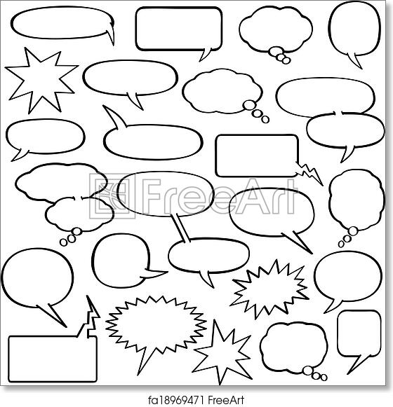 graphic regarding Printable Thought Bubble titled Totally free artwork print of Cartoon Speech Bubbles