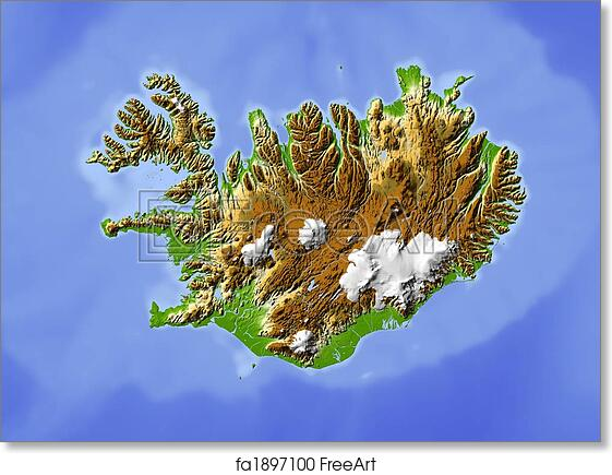 Free art print of Iceland shaded relief map Iceland shaded relief