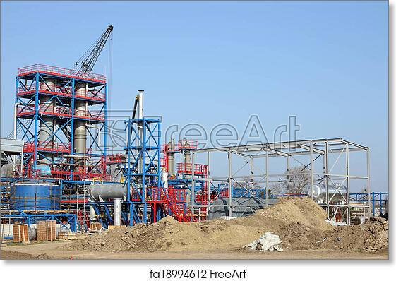 Free art print of Petrochemical plant heavy industry construction site