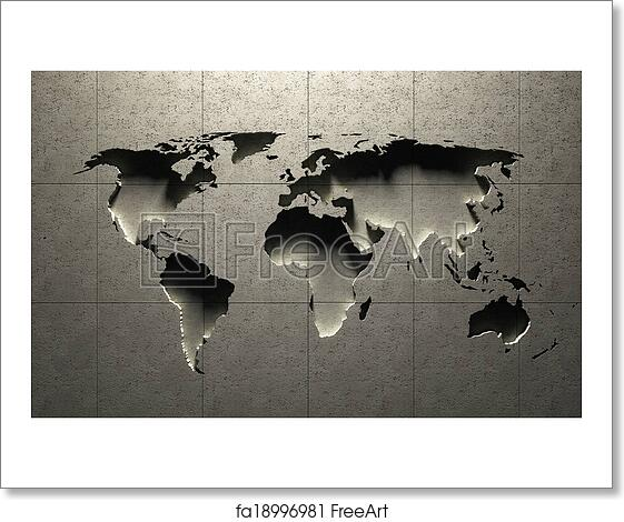Free Art Print Of 3d World Map Molded Into Solid Concrete Blocked
