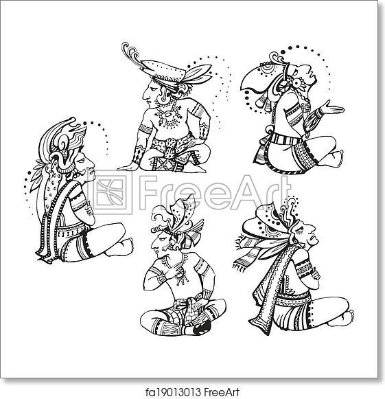 Free art print of Mayan characters