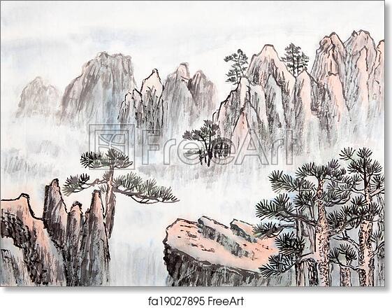 02205ac45 Free art print of Traditional Chinese painting, landscape. Traditional  Chinese painting, mountain | FreeArt | fa19027895