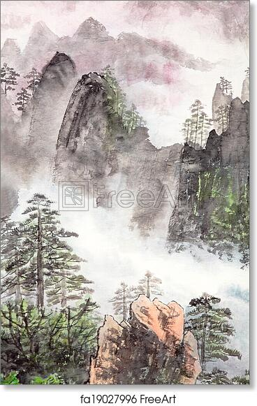 Free art print of Traditional Chinese painting, landscape