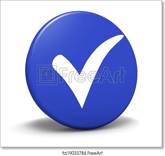 Free Art Print Of Check Mark Symbol Blue Button Blue Button With