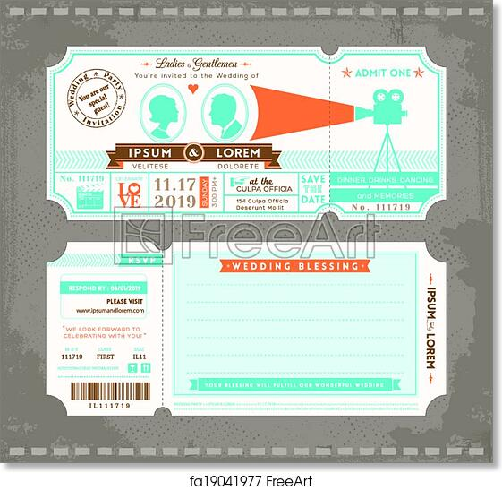 picture relating to Free Printable Movie Ticket named Cost-free artwork print of Online video Ticket Marriage Invitation Style Template