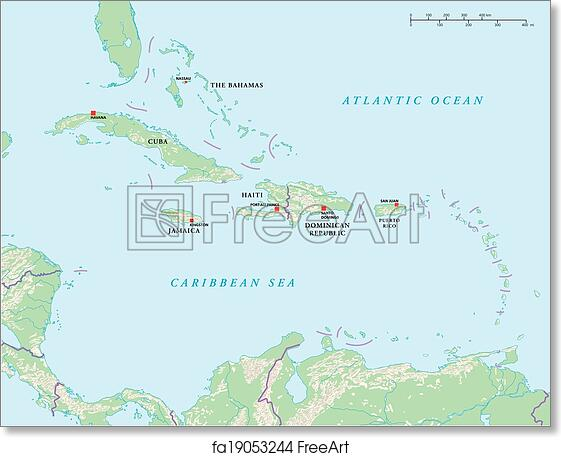 image regarding Printable Map of Caribbean Islands known as Absolutely free artwork print of Caribbean Islands Political Map