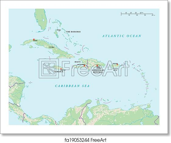 Free art print of Caribbean Islands Political Map