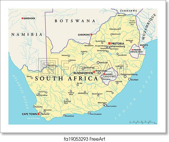 Free Art Print Of South Africa Political Map Political Map Of South