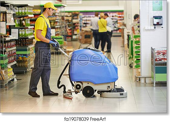 c3db08dba Free art print of Worker cleaning store floor with machine. Floor care and  cleaning services with washing machine in supermarket shop store | FreeArt  | ...